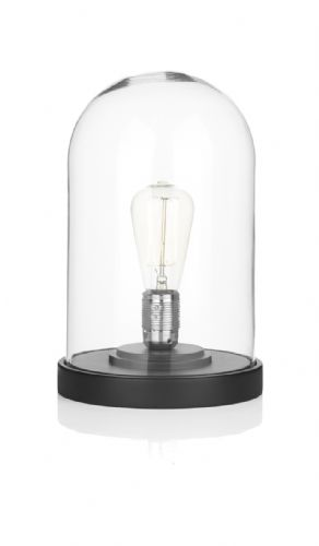 Dar Jefferson Cloche Table Lamp Matt Black/ Clear JEF4222 (Hand made, 7-10 day Delivery)